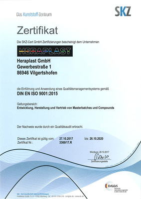 Heraplast GmbH Compounds Masterbatch ISO Zertifikat 9001 2015