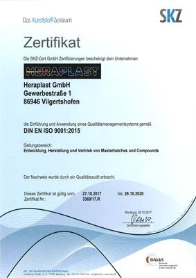 Heraplast GmbH Compounds Masterbatch ISO Zertifikat 9001 2015